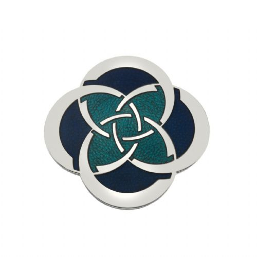 Celtic Slim Knot Brooch Silver Plated Turquoise Brand New Gift Packaging